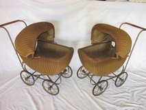 2 Matching Wicker Doll Baby Carriage Buggy Stroller Pram Canopy ANTIQU in Oswego, Illinois