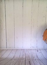 White Wood Fence Backdrop 5x7 w/ Baseboard in Fort Campbell, Kentucky