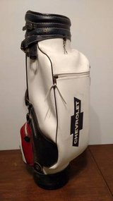 Vintage Leather Golf Bag - Belding Sports Chevrolet - Red, White, Blue in Yorkville, Illinois