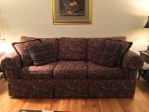 Sofa / Couch Burgundy Paterned Tapestry w 4 pillows in Naperville, Illinois