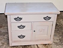 Chalk Painted Vintage Oak Washstand/Small Cabinet, Annie Sloan French Linen in Bolingbrook, Illinois