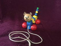 Vintage Wobbly Wooden Cat Pull Toy Lorenz GmbH&Co Germany in Westmont, Illinois