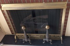 Brass Fireplace Screen with Cast Iron Andirons in Warner Robins, Georgia