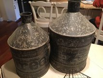 :) TWO DECORATOR TIN JUGS~20'' AND 16'' GREAT DECOR in Naperville, Illinois