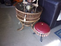 Fishing Basket Style Glass Top End Table in Fort Riley, Kansas