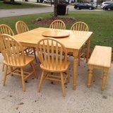 Solid Wood Dining Table/6 chairs/bench/lazy susan in Byron, Georgia
