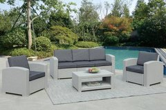 Gray Contemporary 4-Pcs Sofa + 2 Chairs + Table  Patio Outdoor Set in Camp Pendleton, California