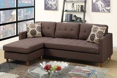 New Linen Chocolate Mini Sectional Sofa FREE DELIVERY in Camp Pendleton, California