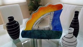 COLORFUL CONTEMPORARY LARGE ART GLASS PLATTER in Tampa, Florida