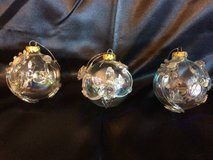 3 blown glass ornaments in Joliet, Illinois