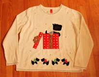 NWOT Ugly Christmas Sweater--Creme w/Appliqued Scotty Dog in Present, 2XL, sz 20 in Bolingbrook, Illinois