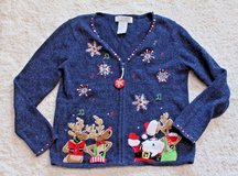 Vintage Ugly Christmas Sweater - Blue Zip Front, Dapper Reindeer/Santa/Snowflake in Plainfield, Illinois