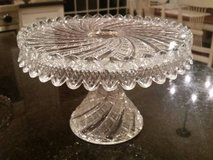 Cake Pedestal / Plate - Clear Crystal - Ornate in Glendale Heights, Illinois