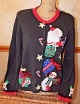 Vintage Ugly Christmas Sweater -- Everything Xmas Cardigan from 2004, Black, Medium in Bolingbrook, Illinois