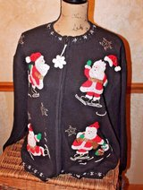 Vintage Ugly Christmas Sweater - Black Zip Front, Beaded/Sequin Skating Santas! in Bolingbrook, Illinois
