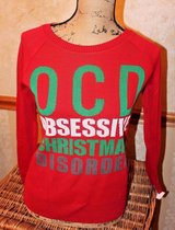 NWT - OCD -- Obsessive Christmas Disorder -- Ugly Christmas Sweater, Red, X-Small in Westmont, Illinois