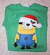 "Minion ""Stuart""  Holiday Short Sleeve Tee, Cotton/Polyester, Green, Small in Plainfield, Illinois"