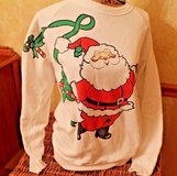 Vintage White Santa Sweatershirt, American Sportswear PolyCootton, Large in Plainfield, Illinois
