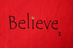 BELIEVE Red Long Sleeve Cotton Holiday Top in Bolingbrook, Illinois