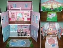 "New! Wood Play House Mansion + dollhouse furniture + Backdrop 12"" Doll in Orland Park, Illinois"