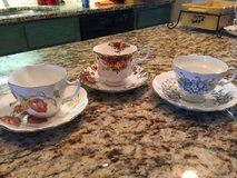 Fine bone China cups w/saucers from England - set of  3 in Warner Robins, Georgia