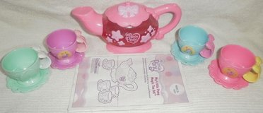 my little pony magic tea set teapot 4 cups 4 saucers disappearing singing talks in Glendale Heights, Illinois