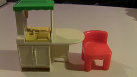 little tikes doll house dollhouse kitchen island and 1 red chair in Schaumburg, Illinois