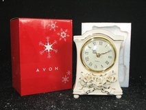 Avon Mantle Clock China Winter Rose Ivory/Cream with Gold Trimmed Rose 2 available $5 each in St. Charles, Illinois