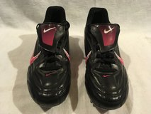 youth girls nike pink black lace up outdoor soccer football 9 shoe cleats  02494 in Fort Carson, Colorado