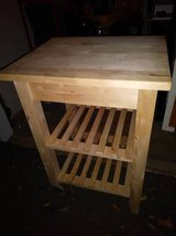 Kitchen prep table cart wood storage shelves in Travis AFB, California