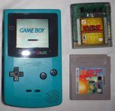 Nintendo Game Boy Color Teal Blue Handheld System + 2 Games in Orland Park, Illinois