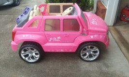 Power Wheels Barbie Cadillac Escalade 12 Volt Ride On in Perry, Georgia