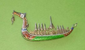 Siam Silver and Enamel Dragon Boat Brooch in St. Charles, Illinois