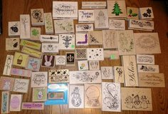 Rubber Wood Stamp Huge  Lot  Some Inked Some Never Inked in Glendale Heights, Illinois