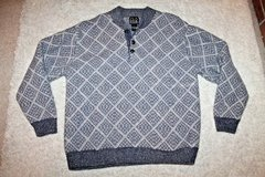 Jos. A. Bank Lambswool Sweater, 3-Button Neckline, Navy/Tan Print,  Large in Oswego, Illinois
