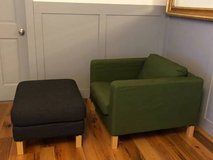 IKEA Karlstad Club Chair with Ottoman and Multiple Slip Covers in Quantico, Virginia