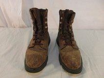 """adult mens justin brown leather 8"""" lace up work boots wk 906 style 31890 in Fort Carson, Colorado"""