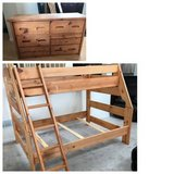 Pine-Sundance Twin/Full Bunk Bed + 6 Drawer Dresser in Chicago, Illinois