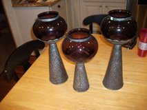 3 CANDLE HOLDERS GLASS AND METAL in Tinley Park, Illinois