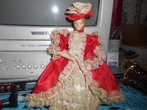 """Vintage Small 8"""" Porcelain Doll with Red Lacy Dress and Hat!  Cute in Spring, Texas"""