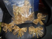 Pretty Handmade Gold & Glittery Christmas Bows!   Made with Stiff Formable Ribbon!  16pcs in Spring, Texas