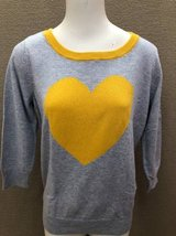 Women's Sweater Valentines Day size L yellow heart in Lockport, Illinois