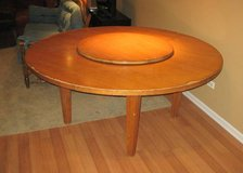 DREXEL LARGE ROUND SOLID WOOD TABLE with LAZY SUSAN - UNIQUE in Oswego, Illinois