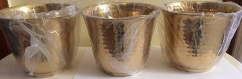 """New 3 Solid Brass Hammered Planter Pot 8"""" W Pots in Glendale Heights, Illinois"""