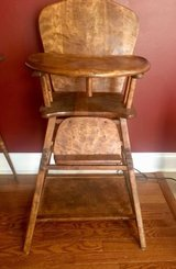vintage folding wooden high chair converts to toddler chair & attached table in Plainfield, Illinois