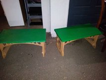 2 green and beige hard plastic gardening arts and crafts plant tables in Travis AFB, California