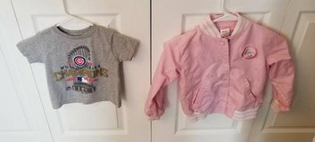 SIZE 4 GIRLS LIGHT PINK CHICAGO CUBS SNAP JACKET AND SHIRT in Schaumburg, Illinois