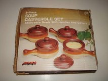 1983 4-Piece SOUP CASSEROLE SET Stoneware Bowls w/ Handles & Covers!! in Brookfield, Wisconsin