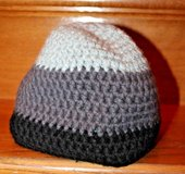 Black/Dk Gray/Lt Gray Tri-Color Knit Beanie Cap, Open Weave, Women's One Zize in Bolingbrook, Illinois