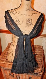 Elegant Black Sheer Tulle Shawl/Scarf w/Rosettes in Bolingbrook, Illinois